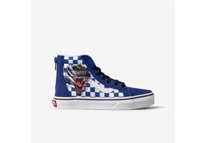 8c2f095aaf Shop Kids Vans Blue Dino Checker SK8-HI Zip Online