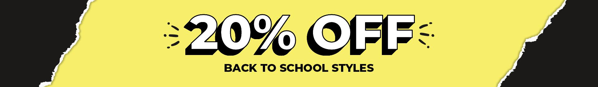 Take 20% Off All Black Back to School Shoes and Selected Sport Styles
